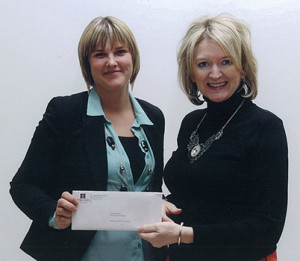 Winner Tara Hill-Burke, Accounting Technology Program, accepts Atlantic Credit Unions bursary cheque from Jeanette Wakelin, Director of Training and Education, Atlantic Central