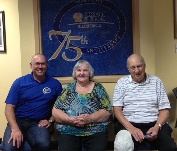 (Shown Left to Right) Andy Richardson, Beaubear CU Chief Executive Officer; Dorothy McCarthy; Vince McCarthy