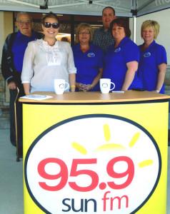 (Shown Left to Right) Glennford Copp (back), Beaubear CU Director; Taylor Hill, 95.9 Sun FM; Janie Curtis, Beaubear CU; Paddy Quin (back), 95.9 Sun FM; Wendy Fortune, Beaubear CU; Natalie Savoie, Beaubear CU